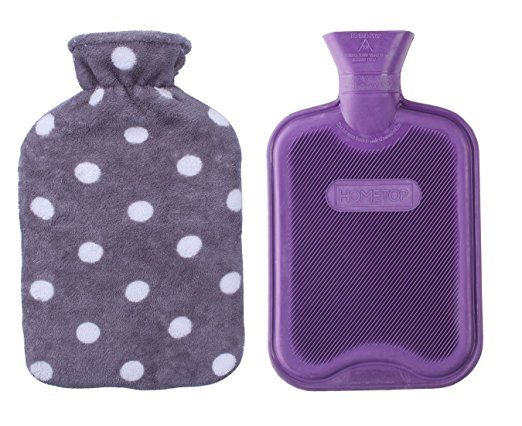 HomeTop Premium Classic Rubber Hot or Cold Water Bottle with Soft Fleece Cover